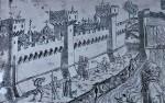 Le antiche mura quattrocentesche del fronte sud, verso il Po, dettaglio da una placchetta argentea di Giannantonio Leli da Foligno, 1512 circa (Ferrara, Basilica di San Giorgio ©)