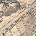 Mura tra il Torrione del Barco e Porta degli Angeli, dalla Nuova pianta di Ferrara di Andrea Bolzoni, 1747