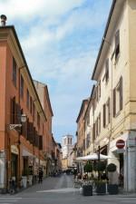 Fine di via Mazzini verso via Saraceno, luogo dove si trovava un portone del ghetto. Fotografia di Edoardo Moretti, 2015. © MuseoFerrara