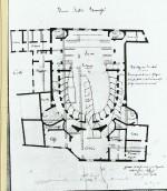 """Il """"nuovo"""" teatro Bonacossi nel progetto dell'ing. Tosi del 1840. E' visibile la pianta a campana allungata tipica dei teatri secenteschi"""