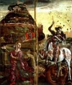 Museo della Cattedrale. Cosmè Tura. Ante dell'organo, San Giorgio e la principessa. © Archivio Fotografico della Provincia di Ferrara / Musei Civici d'Arte Antica