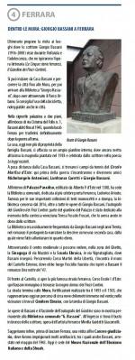 Quarta tappa. Dentro le Mura: Giorgio Bassani a Ferrara. Info: Biblioteca comunle Ariostea, info.ariostea@comune.fe.it