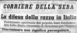 La prima pagina del Corriere della Sera, 6 agosto 1938. Particolare. © Corriere della Sera